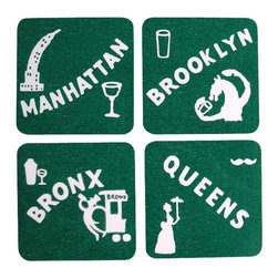Cool Culinaria - New York Coasters (4 Boroughs) 1930s Cocktail Menu Art, Green - Artwork adapted from the original Bob McCaffrey's Hotel 1930s Cocktail Menu Artwork. Set of four cork-back coasters (green or blue) with a wipe clean hard wearing gloss-finish surface. Made in USA.