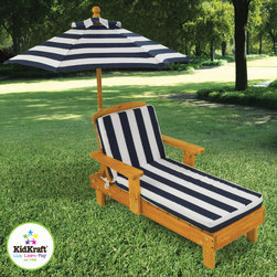 Kids Outdoor Chaise w/ Umbrella & navy stripe fabric - Being a kid is tough work! Young boys and girls will love relaxing on our Outdoor Chaise with Umbrella after a long day of playing.
