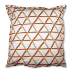 Jonathan Adler Orange Mustique Euro Shams (Set of 2) - These bright geometric shams will add fun energy to your bedscape. Pair them with the Orange Mustique duvet cover or simply have them perk up your plain white duvet.