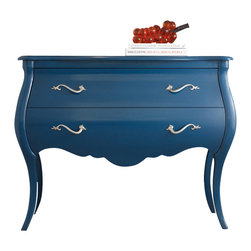 Hooker - Hooker Furniture Melange Regatta Blue Bombe Chest - A confidant attitude in a high-fashion color finish makes the Regatta Blue Bombe Chest a striking focal point. There are two large drawers on this chest, with silver serpentine floral hardware, a scalloped apron, and it sits on prettily bowed slim legs. A beautifully understated way to add fashion, elegance and function to your home.