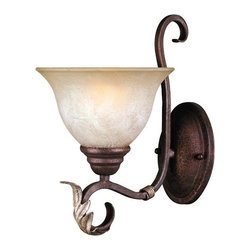 World Imports - World Imports Olympus Tradition Traditional Wall Sconce X-422262IW - Embrace soothing elegance and premium craftsmanship with this traditional wall sconce. The crackled bronze with a silver finish curlicue styling makes this fixture a sleek addition to your living room, dining room, or bathroom. The hand-painted tea stained fluted glass for the shade creates a friendly and attractive glow.