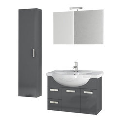 ACF - 32 Inch Glossy Anthracite Bathroom Vanity Set - Set Includes: Vanity Cabinet (2 Doors,2 Drawers), high-end fitted ceramic sink, wall mounted vanity mirror, tall storage cabinet. Vanity Set Features: Vanity cabinet made of engineered wood. Cabinet features waterproof panels. Vanity cabinet in glossy ant