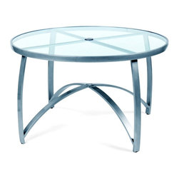 Woodard - Wyatt Mesh 48 in. Round Umbrella Table w Smoked Glass Top (Hammered Pewter) - Finish: Hammered Pewter. Aluminum frame. 48 in. Dia.. All products are made to order. Orders cannot be cancelled after 5 calendar days. If order is cancelled after 5 calendar days, a 50% restocking fee will be applied.