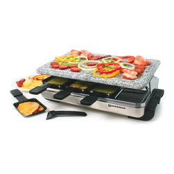 8 Person Stelvio Raclette Party Grill with Granite Stone - 8 Person Stelvio Raclette Party Grill with Granite Stone