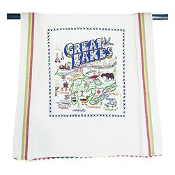 CATSTUDIO - Great Lakes Dish Towel by Catstudio - This original design celebrates Great Lakes.  This design is silk screened, then framed with ahand embroidered border on a 100% cotton dish towel/ hand towel/ guest towel/ bar towel. Three stripes down both sides and hand dyed rick-rack at the top and bottom add a charming vintage touch. Delightfully presented in a reusable organdy pouch. Machine wash and dry.