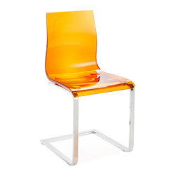 DomItalia Furniture - Gel-SL Side Chair in Orange (Set of 2) - Wispy and clean, it's easy to style a room or a table with this versatile Gel-SL Dining Chair in Orange (Set of 2). Gel chair by Domitalia is constructed of a lacquered metal frame with a styrene acryl nitryl shell. Simple shaping over a cantilever base.