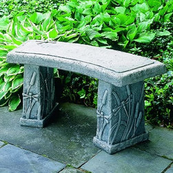 Campania International Dragonfly Curved Cast Stone Backless Garden Bench - About Campania InternationalEstablished in 1984, Campania International's reputation has been built on quality original products and service. Originally selling terra cotta planters, Campania soon began to research and develop the design and manufacture of cast stone garden planters and ornaments. Campania is also an importer and wholesaler of garden products, including polyethylene, terra cotta, glazed pottery, cast iron, and fiberglass planters as well as classic garden structures, fountains, and cast resin statuary.Campania Cast Stone: The ProcessThe creation of Campania's cast stone pieces begins and ends by hand. From the creation of an original design, making of a mold, pouring the cast stone, application of the patina to the final packing of an order, the process is both technical and artistic. As many as 30 pairs of hands are involved in the creation of each Campania piece in a labor intensive 15 step process.The process begins either with the creation of an original copyrighted design by Campania's artisans or an antique original. Antique originals will often require some restoration work, which is also done in-house by expert craftsmen. Campania's mold making department will then begin a multi-step process to create a production mold which will properly replicate the detail and texture of the original piece. Depending on its size and complexity, a mold can take as long as three months to complete. Campania creates in excess of 700 molds per year.After a mold is completed, it is moved to the production area where a team individually hand pours the liquid cast stone mixture into the mold and employs special techniques to remove air bubbles. Campania carefully monitors the PSI of every piece. PSI (pounds per square inch) measures the strength of every piece to ensure durability. The PSI of Campania pieces is currently engineered at approximately 7500 for optimum strength. Each piece is