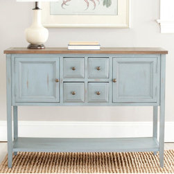 "Safavieh - Charlotte Sideboard - The antiques-inspired Charlotte Sideboard by Safavieh is sure to give any decor a classic feel. Its charming blue base finish is completed with a wood toned top. Both parts have heavy distressing throughout that makes it right at home in cottage-styles and country chic spaces. Drawers and doors are complemented by aged brass hardware. With many spacious drawers and doors, the Charlotte Sideboard is a godsend for those who need extra storage space. It features two sizable cabinets to hold larger items like serving bowls and tabletop appliances. Four pull-out drawers can hold napkins and utensils for easy access. An open full-length bottom shelf can hold appliances for storage or larger pieces of home décor like vases for display. During get togethers, this is the perfect piece on which to set out a spread. During casual parties, guests can serve themselves appetizers from its spacious top. During more formal gatherings, it can be set up in a den as a drink station before dinner is served. Its soundly crafted of solid elm and pine woods. It stands 34.1 high by 45.9 wide by 15 deep. The Charlotte Sideboard can also be used as a console or hall table, making it an essential piece for county styled kitchens, dining rooms, entryways, living rooms or dens. Minor assembly is required. Features: -Material: Elm wood and pine.-With many spacious drawers and doors.-Finish: Blue and brown.-Distressed: Yes.Dimensions: -34.1"" H x 45.9"" W x 15"" D.-Overall Product Weight: 54 lbs."