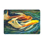 Caroline's Treasures - Fish - Koi Kitchen or Bath Mat 20 x 30 - Kitchen or Bath Comfort Floor Mat This mat is 20 inch by 30 inch. Comfort Mat / Carpet / Rug that is Made and Printed in the USA. A foam cushion is attached to the bottom of the mat for comfort when standing. The mat has been permanently dyed for moderate traffic. Durable and fade resistant. The back of the mat is rubber backed to keep the mat from slipping on a smooth floor. Use pressure and water from garden hose or power washer to clean the mat. Vacuuming only with the hard wood floor setting, as to not pull up the knap of the felt. Avoid soap or cleaner that produces suds when cleaning. It will be difficult to get the suds out of the mat.