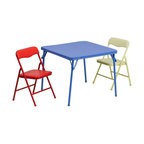 Flash Furniture - Kids Colorful 3 Piece Folding Table and Chair Set - This child sized folding table set is perfect for toddlers. Children can enjoy a table of their own for eating, reading, creating and playing. This table can be used outdoors so children can enjoy playtime outside or for a comfortable picnic setting. The easy to clean vinyl padded table top is great for toddler use. The padded colorful folding chairs are lightweight so children can easily transport their own chair.