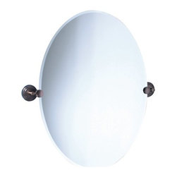 Gatco - Marina Oval Mirror in Oil Rubbed Bronze - Mirror, mirror on the wallevery bathroom needs a mirror to make it complete. The Marina Oval Mirror comes in an oil rubbed bronze finish. Its classic tiered wall mountings are beveled allowing you to adjust the mirror to the perfect angle for you. Its warm finish ensures a perfect match for most traditional bathrooms using bronze fixtures. If you enjoy this item you are certain to like the rest of the Marina Collection from Gatco. This collection will complete your bathroom accessory set. Features : - Marina Collection. - Available in an oil rubbed bronze finish. - Traditional style, with tiered detail. - Beveled. - Also available separately in finishes:. -Chrome. - Satin Nickel. - Available in both large and small sizes. - Dimensions :. - Small: 19.5 W, 26.5 H. - Large: 23.5 W, 32 H.