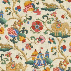 Pkaufmann Uzbek Jewel Fabric - A friend of mine saw a swatch of this in my office and requested it for her someday nursery. I'm more than happy to oblige because it is so much fun with lots of animals and great colors!