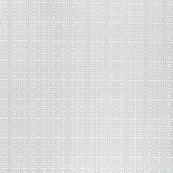 Kimberly Lewis Home - Ikat Wallpaper, Roll, Frost - Unlock your room's hidden potential. The subtle color and classic repeating Greek key motif is open to endless design possibilities. It's screen-printed by hand using environmentally friendly inks and paper.