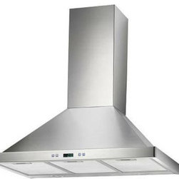 "Cosmo - 30"" Stainless Steel Wall Mount Range Hood, Stainless Steel, 30"", Ducted - This modern European style range hood features a fully stainless steel body with steel baffle filters that are dishwasher safe, so you never have to replace them. With a coverage capacity of 760 cubic feet per minute, it can handle heavy ventilation tasks. Despite its power, this hood operates at noise levels less than 60 dB which is ideal for quiet operation."