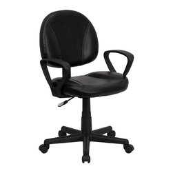 Flash Furniture - Mid-Back Black Leather Ergonomic Task Chair with Arms - This black leather task chair is the perfect companion to any home/ school/ or office computer area. Featuring a soft leather seat and back/ and pneumatic height adjustment. This entry level computer chair is sure to suit most applicable needs. You can be sure that you have made an invaluable purchase.
