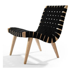 Aeon Furniture - Weave Lounge Chair - Classically Inspired American Maple Lounge Chair. Solid wood frame. Heavy duty black cotton straps. Assembly Required. Seat Height: 15.5. 28 in. L x 20.5 in. W x 29.5 in. H (24 lbs.)Lounge chair fastened with black color braid, American maple painted natural color SW007 solid wood frame.  The Weave is part of Aeon's Modern Classics Collection. Aeon works with only the highest quality manufacturers who provide superior craftsmanship paying close attention to detail.  Our products are made from the finest materials and fabrics that are carefully stitched with distinct accuracy.