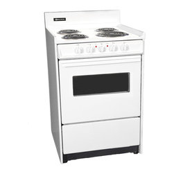 "Brown - 24"" Electric Range with Oven Window and Light - Color: white