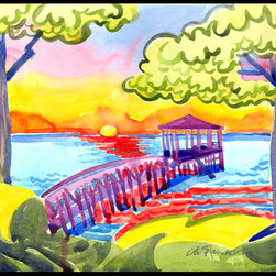 Caroline's Treasures - Dock At The Pier Indoor Or Outdoor Mat 18X27 Doormat - INDOOR / OUTDOOR FLOOR MAT 18 inch by 27 inch Action Back Felt Floor Mat / Carpet / Rug that is Made and Printed in the USA. A Black binding tape is sewn around the mat for durability and to nicely frame the artwork. The mat has been permenantly dyed for moderate traffic and can be placed inside or out (only under a covered space). Durable and fade resistant. The back of the mat is rubber backed to keep the mat from slipping on a smooth floor. Wash with soap & water.