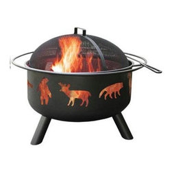 "Landmann - Big Sky Fire Pit Wild Life Black - This Big Sky Fire Pit features Wildlife themed cut outs with a black finish. Sturdy steel construction is designed for easy assembly. It has a large 23.5"" diameter bowl with full diameter handle. Comes with full size porcelain cooking grate. Includes poker and Spark guard. 29.5""Lx29.5""Wx23""H 32 lbs."