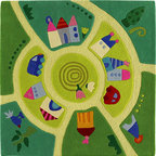 HABA Play World Area Rug - Around the town you go. This rug will fit perfectly in any room. Its charming colors will brighten up the area and entertain! From trees and houses to birds and flowers this carpet has it all. Material: Japanese acrylic yarn with cloth backing.