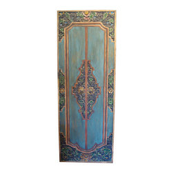 Consigned Indonesian Style Door Panel - The blueish-green color and carved and painted floral details of this five foot tall decorative door panel are stunning, and typical of the Indonesian Island style. Casual yet elegant, beautiful and cool, it also has double hangers on the back and brass door handles. This vintage door panel has age appropriate wear, which is not obvious upon first appearance.
