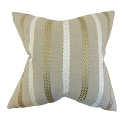 The Pillow Collection - Emese Stripe Pillow Burlap - Create a homey vibe to your living space with this contemporary accent pillow. This throw pillow features a stripe pattern in natural, gold and white. This toss pillow is perfect for adding texture and comfort to your sofa, bed or seat. This home accessory is made with a combination of high-quality materials: 87% polyester and 13% viscose.