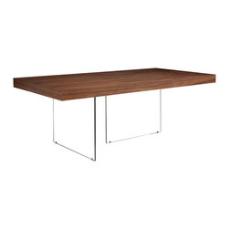 Lucca Dining Table Rectangle Walnut - The Lucca dining table brings the ultimate modern flair to your home by giving the impression of floating in mid-air and is perfect for keeping your room looking open and light. The table features a sturdy base of 12mm glass and is available in White Lacquer, Walnut or Wenge veneer.