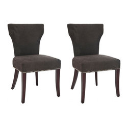 Safavieh - Maxwell Dining Chair (Set of 2) - A tapered, slightly curved, backrest add movement to the simple lines of the Maxwell side chair, shown in bark-colored fabric and cherry mahogany finish on the legs.