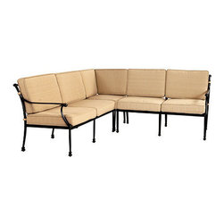 Ballard Designs - Amalfi 3-Piece Sectional - Coordinates with our Amalfi Outdoor Collection. Includes Corner Chair, Right Arm Loveseat & Left Arm Loveseat. Basic tan cushions included. Sand black finish resists rust and chipping. Extremely strong, yet light enough for easy placement. Each piece in this inviting 3-piece sectional is crafted of cast aluminum, so the decoration can be more ornate and finely detailed. Seat backs feature an intricate basket weave design with a rich 3-dimensional look and are beautifully scrolled on both sides, so you can enjoy the pattern from behind.Amalfi 3-Piece Sectional features: .  . . . . Assembly required. Replacement cushions available. . Use of an outdoor furniture cover is recommended to extend the life of your piece.