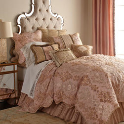 "Sweet Dreams - Sweet Dreams King Scalloped Damask Duvet Cover, 106"" x 96"" - Sheer fabric with damask embroidery is layered over pink to create this stunning bedding collection by Sweet Dreams®. Ruched velvet, crushed silk, beading, and gimp are among the fabrics and trims that add to the opulence. Gathered pink dust skirt..."