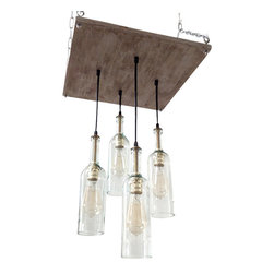 Industrial Lightworks - Wine Bottle Chandelier: Cottage Chic Lighting - Unique Rustic / Cottage Style Chandelier