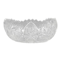 Vintage English Pressed Glass Oval Trinket Flower Bowl - This is a beautiful vintage English pressed glass oval trinket flower bowl. It has a lovely shaped rim with scalloped accents and its surface is richly adorned with very attractive glass designs and it has a traditional decorative base. This piece may show minor age appropriate signs of wear including minor chipsbut as shown it is overall in very good cosmetic condition.