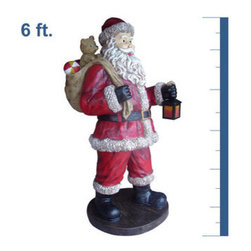 6 ft. - Santa with Toy Bag - Life-Size - Fiberglass - Christmas Decoration - Let this jolly Santa and his toy bag bring holiday cheer to your Christmas decorations. The 6-foot figure comes complete with white beard and rosy cheeks along with crisp, fade resistant colors. The chip resistant fiberglass construction makes it ideal to stand indoors or outdoors. With proper storage, this ornament will last for generations to come. Let this traditional holiday figure be the center of your decoration this season.