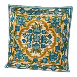 Sitara Collections - Floral Cushion Cover from Kashmir with Dense Chain Stitch Embroidery - It's Springtime any Time, with this Luxe Woolen Cushiom Cover. Robin's Egg Blue and Grass Green are Perfect Partners in a Design That includes a Fresh Flowers Pattern. Handmade in the Storied Textile Regiom of Kashmir, india, the Cover Features Cottom Backing with Wool Thread. Color: Blue om a Beige Background Material: Wool Thread om Pure Cottom Cushiom inserts are Not included Closure: Slit Care instructioms: Dry Clean omly Dimensioms: 16 inches X 16 inches Set includes ome (1) Pillow Cushiom Cover.