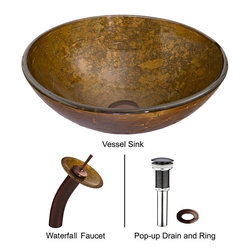 Vigo - Vigo Textured Copper Glass Vessel Sink and Waterfall Faucet Set, (VGT018RBRND) - Vigo VGT018RBRND Textured Copper Glass Vessel Sink and Waterfall Faucet Set, Oil Rubbed Bronze