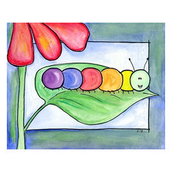 Oh How Cute Kids by Serena Bowman - Caterpillar-Say Hello, Ready To Hang Canvas Kid's Wall Decor, 8 X 10 - Each kid is unique in his/her own way, so why shouldn't their wall decor be as well! With our extensive selection of canvas wall art for kids, from princesses to spaceships, from cowboys to traveling girls, we'll help you find that perfect piece for your special one.  Or you can fill the entire room with our imaginative art; every canvas is part of a coordinated series, an easy way to provide a complete and unified look for any room.