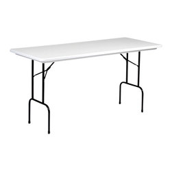 Correll Inc - Counter Height Folding Table - Anti Microbial - Not a coating. Molded with a special FDA and EU approved anti-microbial compound for plastic. Not wear off, scratch off, or wash off. Light weight, waterproof, and virtually indestructible blow-molded plastic top. Resists damage even from gasoline, paint remover, battery acid, and drain cleaner. Paint and permanent marker can be removed without damage. Strong steel ladder frame. 1 in. 18 gauge steel pedestal legs. Mar-proof plastic foot caps. Automatic lock-open mechanism. For long life in commercial use . Gray Granite with Black frame finish. 30 in. W x 72 in. L x 36 in. H