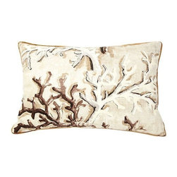 Pierre Frey Coral Pillow - Down and feather pillow made with Pierre Frey Lavezzi fabric. Solid tan linen back, silk gold, skinny welt, zipper closure.