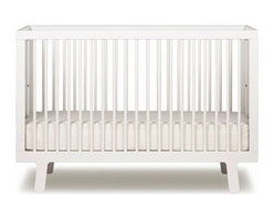 "Oeuf - Sparrow Crib, White, By Oeuf - Fits a standard 28""W x 52""L crib mattress (not included). Mattress must be at least 27.25""W x 51.625 ""L and 4-6"" thick. Oeuf products meet or exceed all ASTM safety standards and are tested by Intertek Labtest to assure compliance. Oeuf is a member of JPMA."