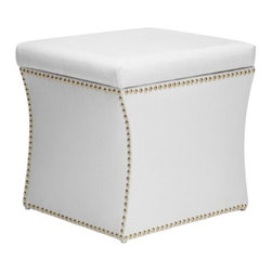 Z Gallerie - Storage Ottoman - White - You will not want to hide this storage piece in the corner. Sharp and shapely lines highlight its modern hourglass figure, allowing our Storage Ottoman to stand alone as an attractive accent piece. Upholstered in white velvet with polished gold nail heads that will give any room a modern and sophisticated touch. Most importantly, our Storage Ottoman distinctly functions to conceal blankets, laundry or any items that may hamper the charm of your home.