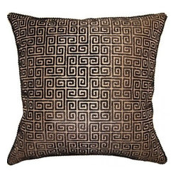 Squarefeathers - On The Move, Keys Pillow - The On the Move Collection is the perfect addition to your home this Fall. Warm up to stripes and dots in chocolate brown and tan. Made of polyester and has a black cotton velvet back with a black pebble trim. It has a soft and pump feataher/down insert inclosed with a zipper. Like all of our products, this pillow is handmade, made to order exclusively in our studio right here in the USA.