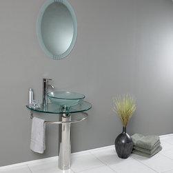 Fresca - Fresca Attrazione Modern Glass Bathroom Vanity w/ Frosted Edge Mirror - Fresca Attrazione Modern Glass Bathroom Vanity w/ Frosted Edge Mirror