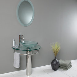 Fresca - Fresca Attrazione Modern Glass Bathroom Vanity w/ Frosted Edge Mirror - Fresca Attrazione Modern Glass Bathroom Vanity w/ Frosted Edge Mirror