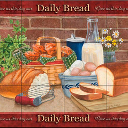 The Tile Mural Store (USA) - Tile Mural - Daily Bread - Mt - Kitchen Backsplash Ideas - This beautiful artwork by Mary Lou Troutman has been digitally reproduced for tiles and depicts bread, eggs and milk.  Our kitchen tile murals are perfect to use as part of your kitchen backsplash tile project. Add interest to your kitchen backsplash wall with a decorative tile mural. If you are remodeling your kitchen or building a new home, install a tile mural above your stove top or install a tile mural above your sink. Adding a decorative tile mural to your backsplash is a wonderful idea and will liven up the space behind your cooktop or sink.