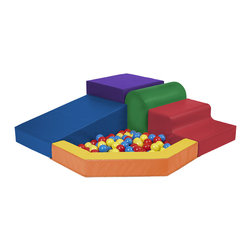 Ecr4kids - Ecr4Kids Softzone Kids Colored Corner Primary Climber Wooden Blocks With Ball Po - A corner climber perfect for beginners with a ball pool for added adventure. Create a comfy and stimulating learning environment with these soft, sturdy, polyurethane foam shapes which are covered in reinforced, phthalate-free vinyl in bright primary and secondary colors. Ball pool has attached vinyl flooring. Uniquely designed specifically for use in any corner to ensure safe and fun playtime - not intended for free-standing use. Balls are made from long-lasting polyethylene and come in a bright assortment of primary colors.