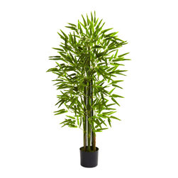 Nearly Natural - Nearly Natural 4' Bamboo Tree UV Resistant (Indoor/Outdoor) - Everybody loves the bamboo tree. The straight chutes of bamboo sprouting upward, combined with the delicate leaves that spring forth always bring a serene sense of calm. This wonderful bamboo tree is the ideal indoor or outdoor decoration, and has the bonus of being UV resistant. Ideal for both home or office, it makes a fine gift as well.