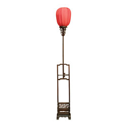 China Furniture and Arts - Elmwood Imperial Lantern - Once only seen in the Forbidden City, the imperial lamp is now available for the public. Displayed on a wooden stand with hand-carved decorative designs, the Chinese red silk lamp gives out a mellow shimmering light that provide you with a unique artistic experience. 40-watt max (bulb not included)