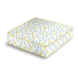 Aqua & Yellow Mini Emblem Box Floor Pillow - Extra seating that is so good looking you won't want to store it away.  Our Box Floor Pillow is perfect for your next coffee table dinner party, fire place snuggle session, or playroom sleepover.  We love it in this small indian boteh motif in bright aqua & mustard yellow on white cotton for a modern meets eclectic accent.