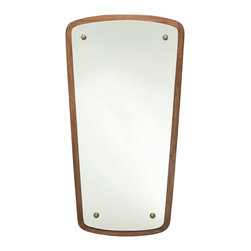 """Arteriors - Arteriors Warwick Small Quadrangle Wood Mirror - The unique quadrangle shape of the Warwick mirror by Arteriors adds panache to the bedroom or bath. Borrowing inspiration from mid-century modern lines, this mirror can be hung landscape or portrait style. 36""""W x 1""""D x 15.5""""/19""""H; Wood and mirror; Walnut finish"""