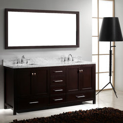 "Virtu USA - Virtu USA GD-50072 - Caroline Avenue 72"" Double Sink Bathroom Vanity - The Caroline Avenue series is designed with a bold clean style and built with strong, top notch materials. It offers an abundance of storage space and state of the art technology with its soft closing doors and drawers. With its gorgeous one inch Italian marble countertop this vanity offers beauty and practicality."